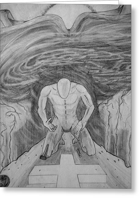 Greeting Card featuring the drawing Whom Shall I Fear Part 1 by Justin Moore