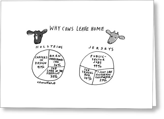 Why Cows Leave Home Greeting Card by Michael Crawford