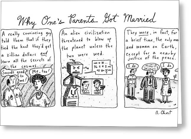 Why One's Parents Got Married: Greeting Card by Roz Chast