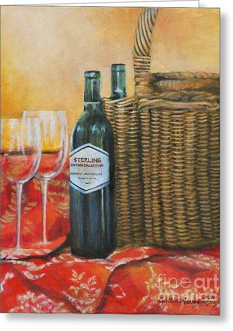 Greeting Card featuring the painting Wicker And Wine by Cynthia Parsons