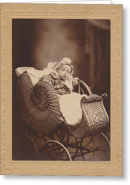 Greeting Card featuring the photograph Wicker Pram by Paul Ashby Antique Image