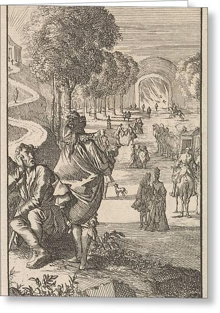Wide And Narrow Path, Caspar Luyken, Jan Claesz Ten Hoorn Greeting Card