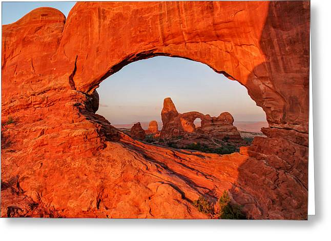 Wide Angle Of Turret Arch Through The North Window  Greeting Card