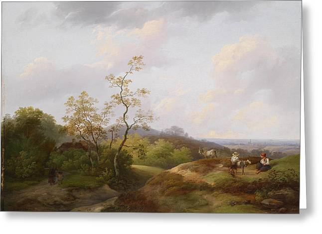 Wide Landscape With Shepherds Greeting Card
