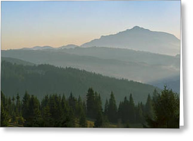 Wide Panorama With Mountains At Sunset In Late November Greeting Card by Vlad Baciu