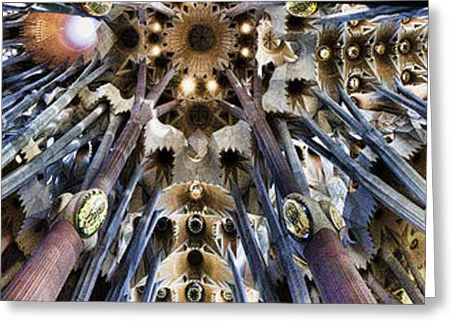 Wide Panorama Of The Interior Ceiling Of Sagrada Familia In Barcelona Greeting Card