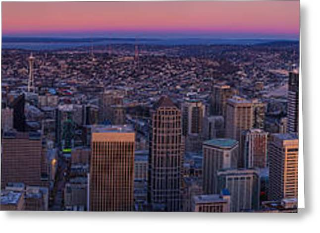 Wide Seattle Sunrise Cityscape Greeting Card by Mike Reid