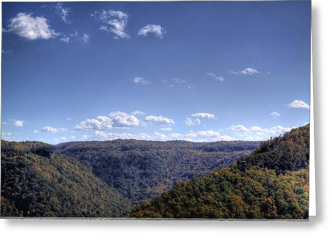 Wide Shot Of Tree Covered Hills Greeting Card by Jonny D
