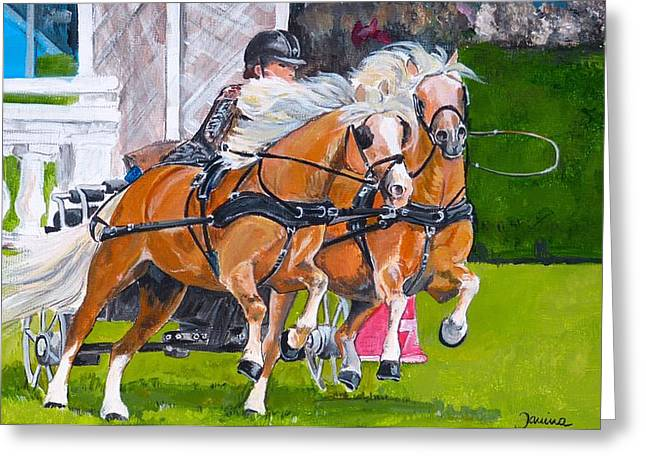 Greeting Card featuring the painting Widescreen Hickstead by Janina  Suuronen