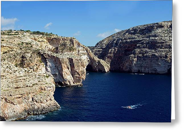 Wied Iz Zurrieq, Aerial View, Malta Greeting Card by Nico Tondini