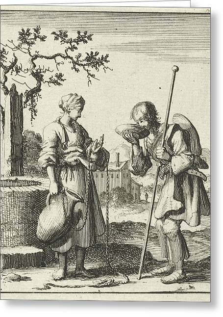 Wife Gives A Pilgrim Water From A Jug, Jan Luyken Greeting Card by Jan Luyken And Pieter Arentsz (ii)