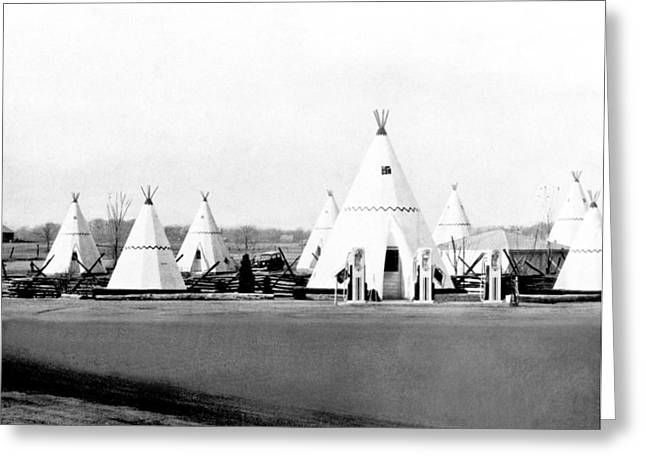 Wigwam Village Gas Station Greeting Card by Underwood Archives