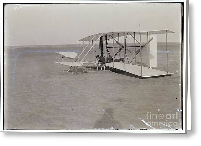 The Wright Brothers Wilbur In Prone Position In Damaged Machine Greeting Card by R Muirhead Art