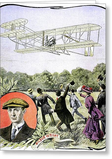 Wilbur Wright's First Flight In Europe Greeting Card by Universal History Archive/uig