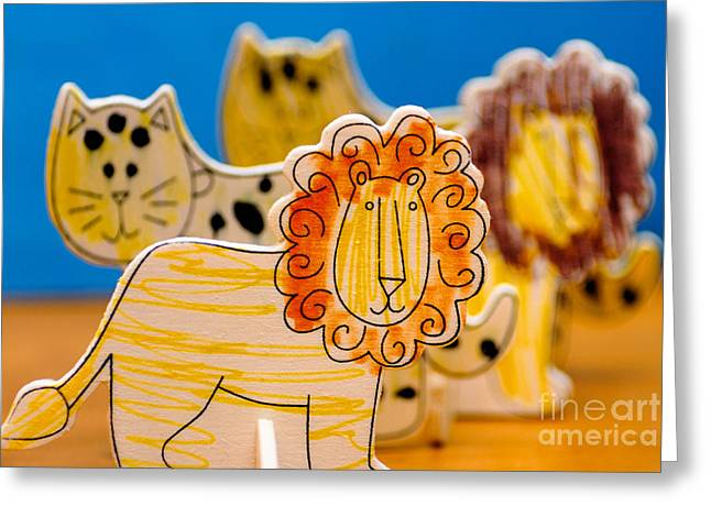 Wild Animals Colored By A Child Greeting Card