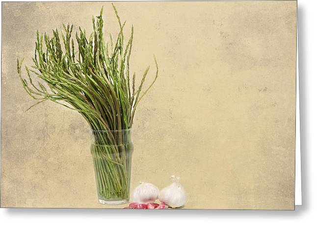 Wild Asparagus And Garlic Greeting Card by Angela Bruno