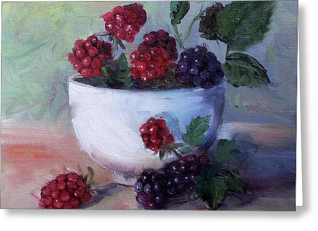 Greeting Card featuring the painting Wild Blackberries by Cheri Wollenberg