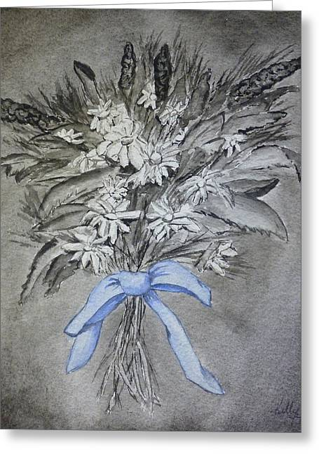 Greeting Card featuring the painting Wild Blue Flowers by Kelly Mills