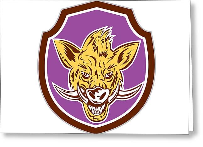 Wild Boar Razorback Head Shield Retro Greeting Card