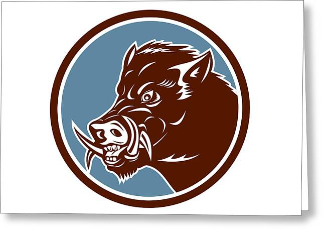 Wild Boar Razorback Head Side Circle Retro Greeting Card