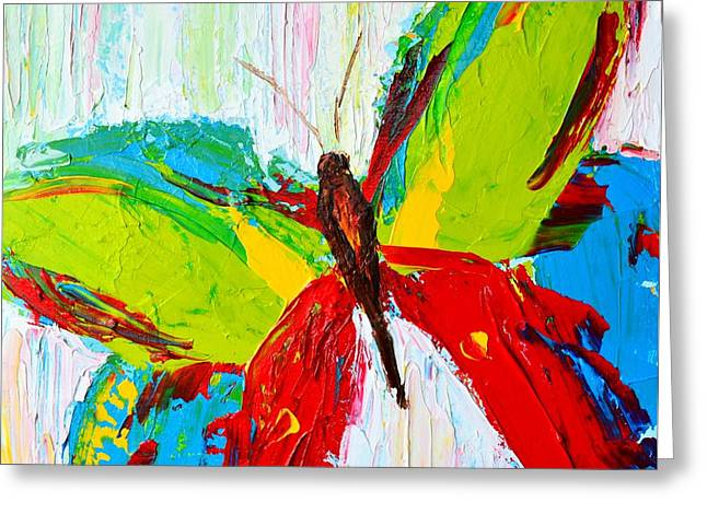 Wild Butterflies - Modern Impressionistic Art - Palette Knife Colorful Painting Greeting Card by Patricia Awapara
