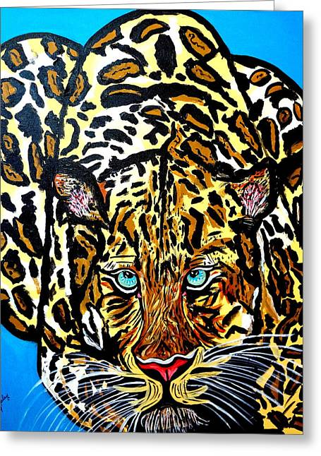 Greeting Card featuring the painting Wild Cat by Nora Shepley