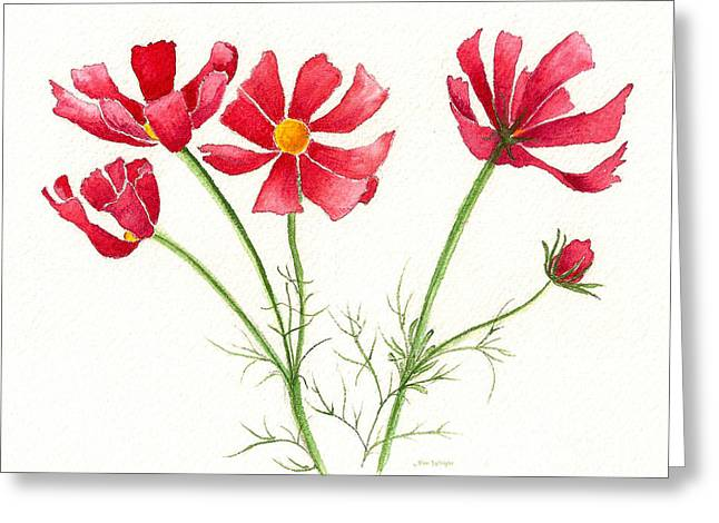 Greeting Card featuring the painting Wild Cosmos by Nan Wright