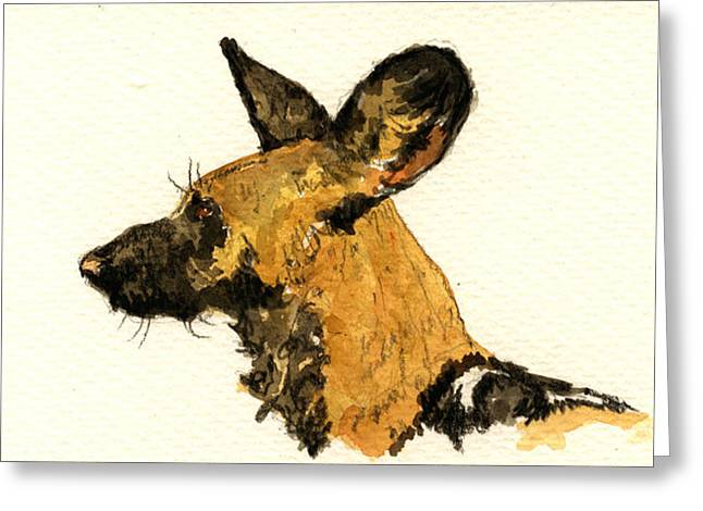 Wild Dog Greeting Card by Juan  Bosco