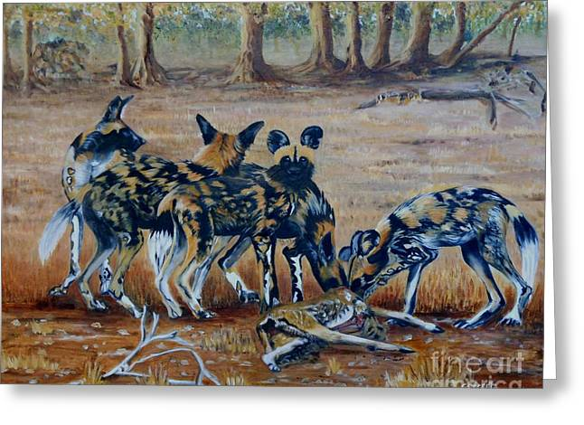 Wild Dogs After The Chase Greeting Card
