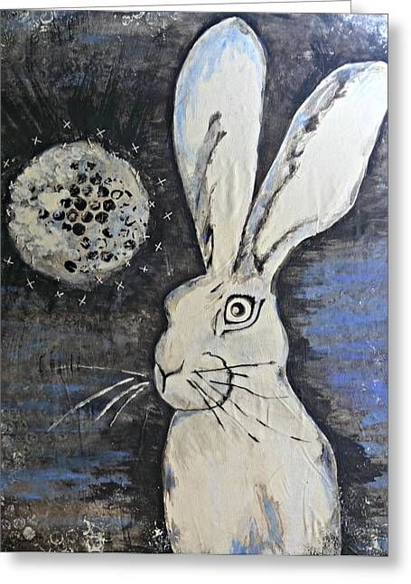 Wild Eyed Hare Greeting Card by Laura Heilman