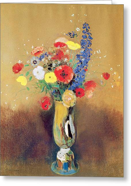 Wild Flowers In A Long-necked Vase Greeting Card by Odilon Redon