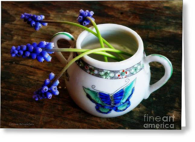 Wild Flowers In Sugar Bowl Greeting Card by Lainie Wrightson