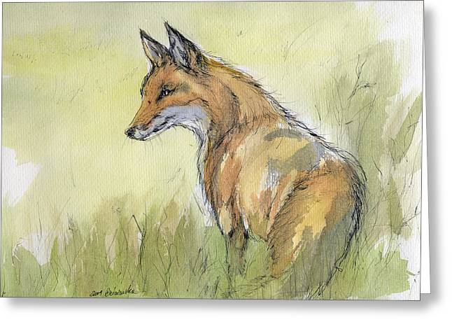 Wild Fox Watercolor Painting Greeting Card by Angel  Tarantella