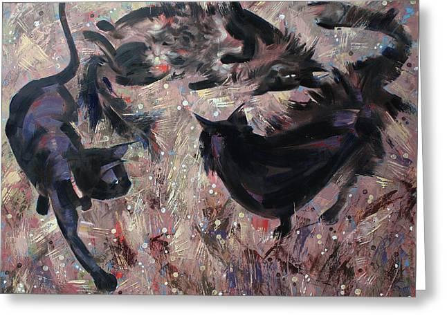 Greeting Card featuring the painting Wild Grasses  by Anastasija Kraineva