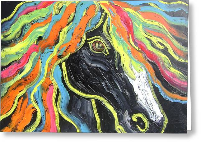 Greeting Card featuring the painting Wild Horse by Isabelle Gervais