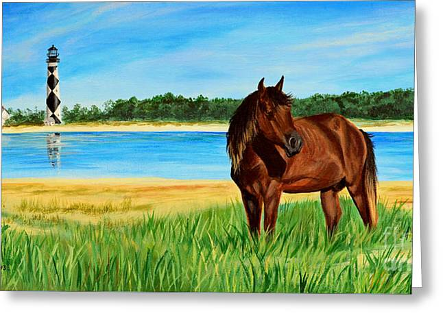 Wild Horse Near Cape Lookout Lighthouse Greeting Card by Patricia L Davidson