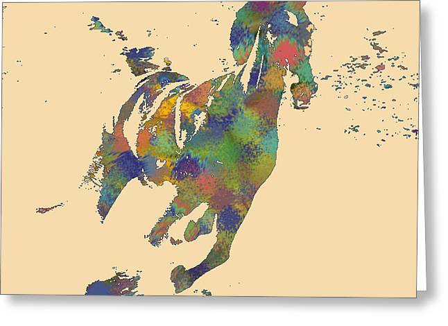 Wild Horse Greeting Card by Soumya Bouchachi