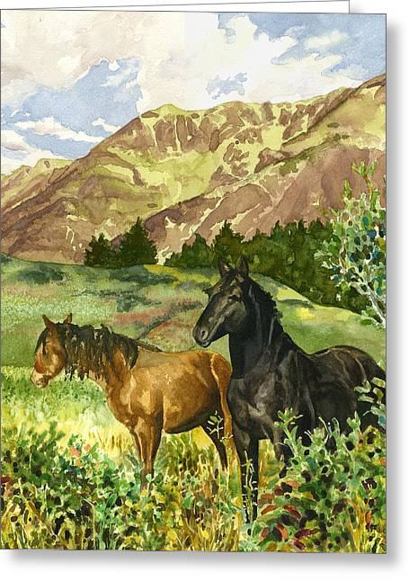 Wild Horses Greeting Card by Anne Gifford