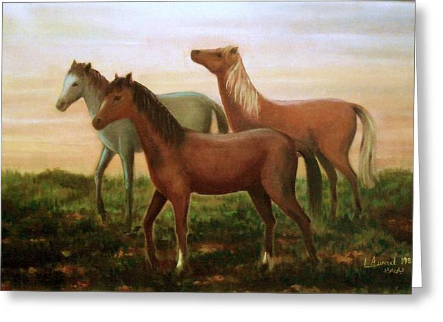 Greeting Card featuring the painting Wild Horses At Sunset by Laila Awad Jamaleldin