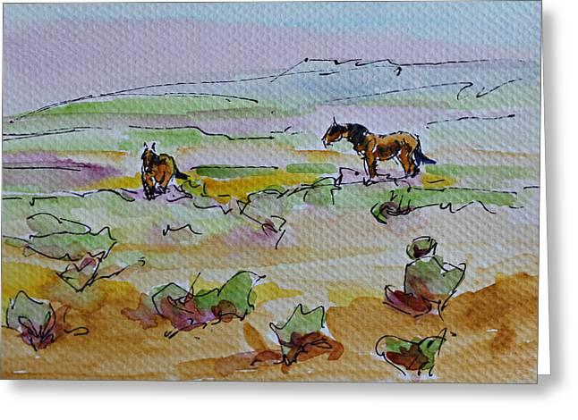 Wild Horses Greeting Card by Karen McLain