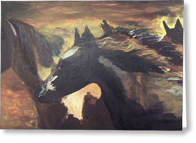 Wild Horses Greeting Card by Krista Ouellette