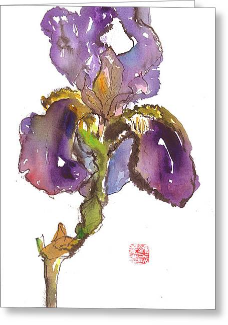 Wild Iris Greeting Card by Gwen Nichols