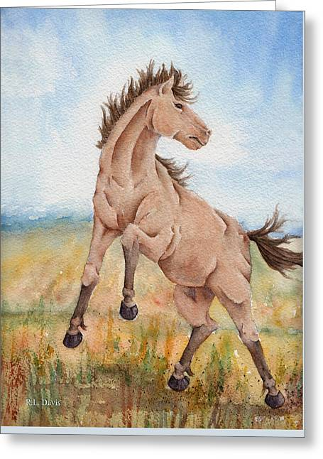 Greeting Card featuring the painting Wild Mustang With Attitude by Rebecca Davis
