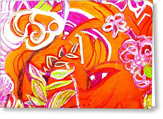 Wild Orange Woman Greeting Card by Anne-Elizabeth Whiteway
