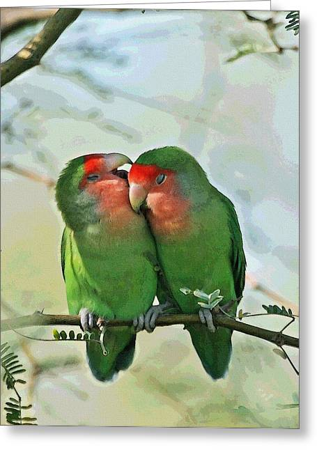 Greeting Card featuring the photograph Wild Peach Face Love Bird Whispers by Tom Janca