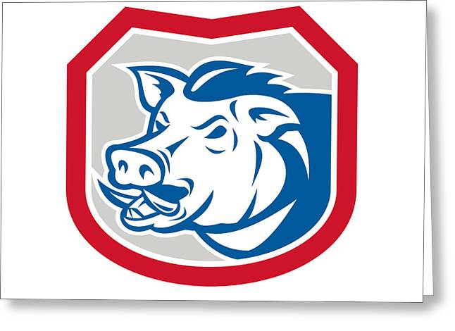 Wild Pig Razorback Head Shield Retro Greeting Card