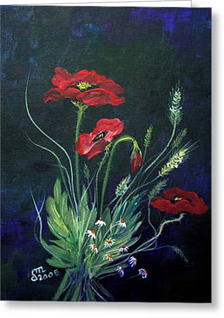 Greeting Card featuring the painting Wild Poppies Bouquet by Dorothy Maier