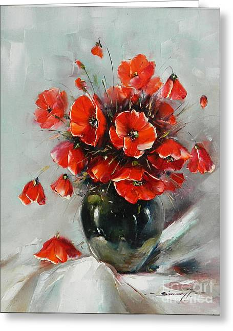 Wild Poppies Bouquet Greeting Card by Petrica Sincu