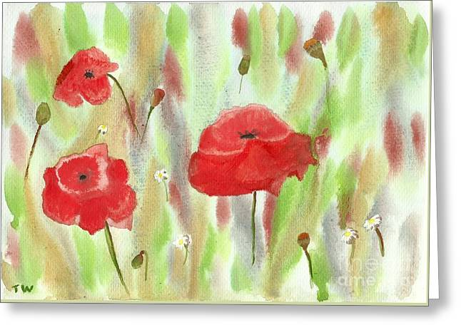 Wild Poppies Greeting Card by Tracey Williams