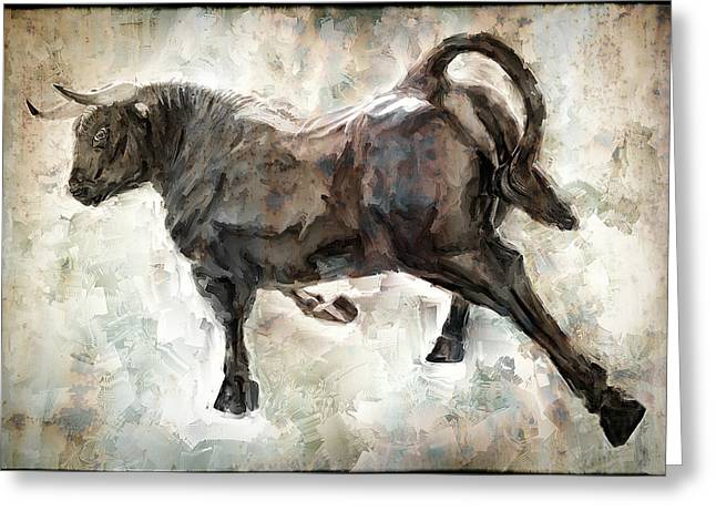 Wild Raging Bull Greeting Card